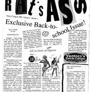 The Rat's Ass, August 27, 1993, Volume 02, Issue 01